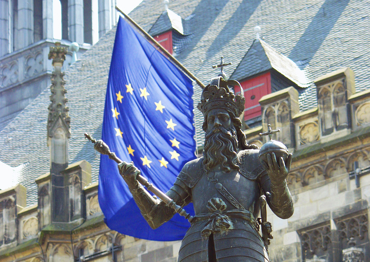 European flag and statute of Charlemagne